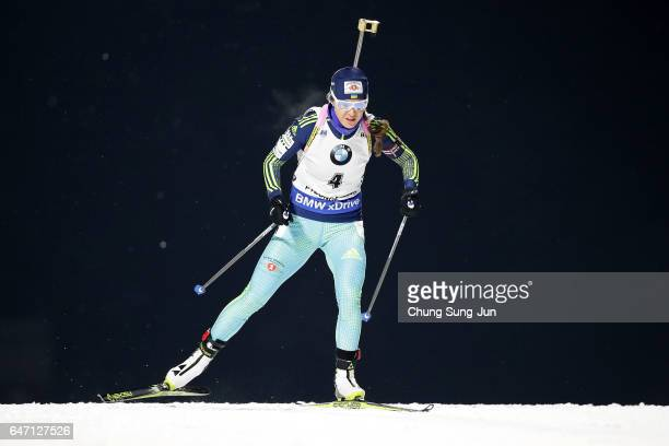 Yuliia Dzhima of Ukraine competes during the Woman 75km Sprint during the BMW IBU World Cup Biathlon 2017 test event for PyeongChang 2018 Winter...