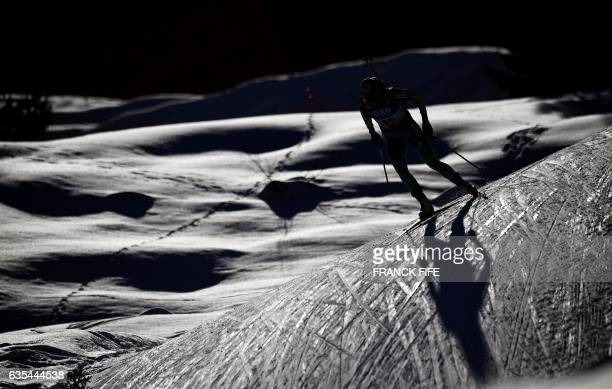Yuliia Dzhima of Ukraine competes during the Women's 15 km individual race during the 2017 IBU Biathlon World Championships in Hochfilzen on February...