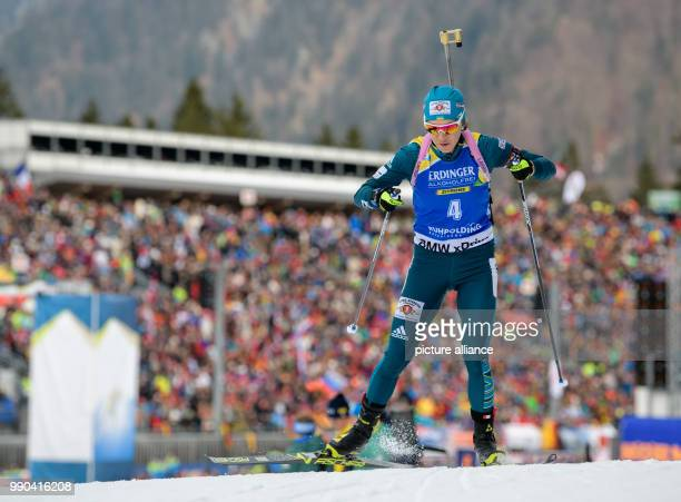 Yuliia Dzhima of Ukraine competes in the 15km women's single race at the Biathlon World Cup in Ruhpolding Germany 11 January 2018 Photo Matthias...
