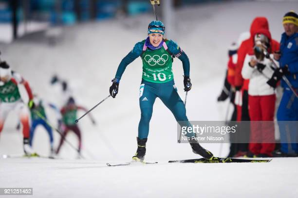 Yuliia Dzhima of Ukraine during the Biathlon 2x6km Women 2x75km Men Mixed Relay at Alpensia Biathlon Centre on February 20 2018 in Pyeongchanggun...