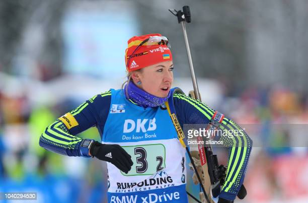 Yuliia Dzhima of Ukraine in action at the shooting range during the women's 4 x 6 km relay race of the Biathlon World Cup in Ruhpolding Germany 17...
