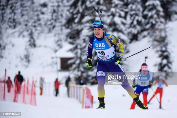 Yuliia Dzhima of Ukraine in action competes during the Women 75 km Sprint Competition at the BMW IBU World Cup Biathlon Hochfilzen on December 13...