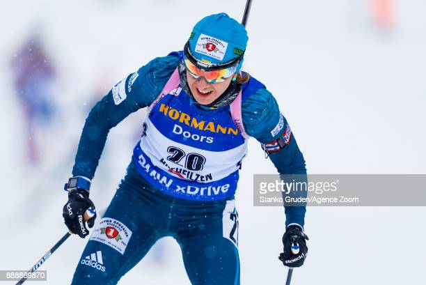 Yuliia Dzhima of Ukraine in action during the IBU Biathlon World Cup Men's and Women's Pursuit on December 9 2017 in Hochfilzen Austria
