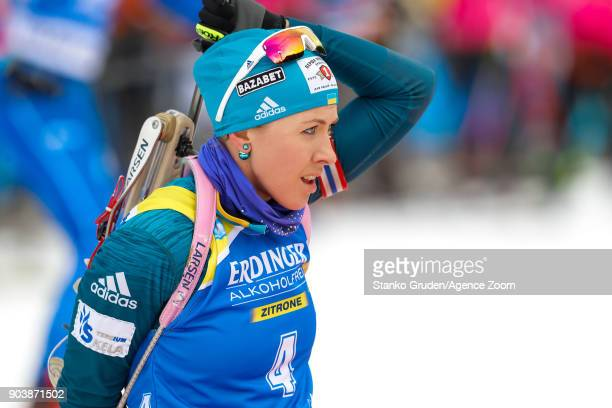 Yuliia Dzhima of Ukraine in action during the IBU Biathlon World Cup Women's Individual on January 11 2018 in Ruhpolding Germany