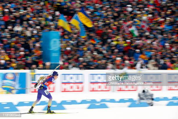 Yuliia Dzhima of Ukraine in action during the IBU Biathlon World Championships Men's and Women's Relay on March 16 2019 in Oestersund Sweden