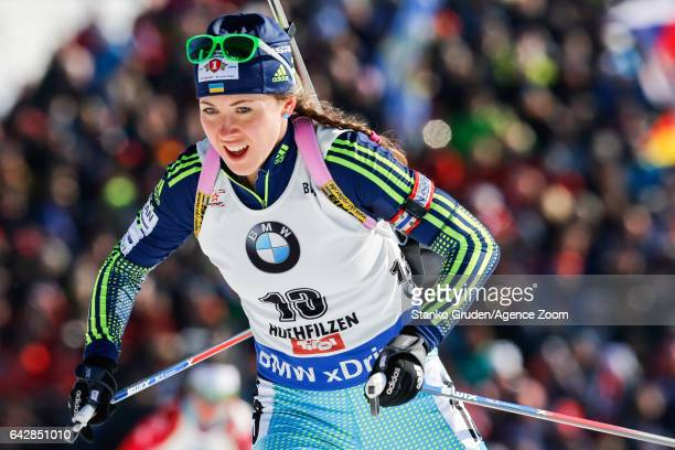 Yuliia Dzhima of Ukraine in action during the IBU Biathlon World Championships Men's and Women's Mass Start on February 19 2017 in Hochfilzen Austria