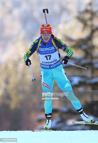 Yuliia Dzhima of Ukraine in action during the women's 15km race of the Biathlon World Cup at the Chiemgau Arena in Ruhpolding Germany 14 January 2016...