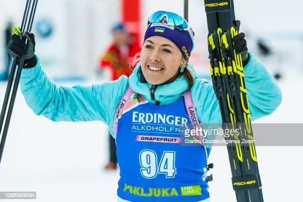 Yuliia Dzhima of Ukraine takes 1st place during the IBU Biathlon World Cup Women's 15km on December 6 2018 in Pokljuka Slovenia