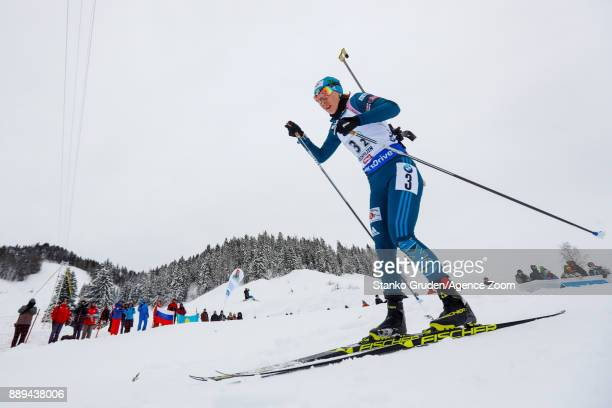 Yuliia Dzhima of Ukraine takes 2nd place during the IBU Biathlon World Cup Men's and Women's Relay on December 10 2017 in Hochfilzen Austria