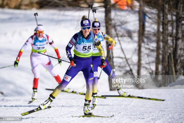 Yuliia Zhuravok of Ukraine in action competes during the Women 7.5 km Sprint Competition of the IBU Cup Biathlon Martell-Val Martello on February 8,...