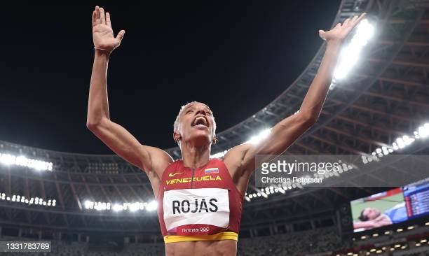 Yulimar Rojas of Team Venezuela celebrates in the Women's Triple Jump Final on day nine of the Tokyo 2020 Olympic Games at Olympic Stadium on August...
