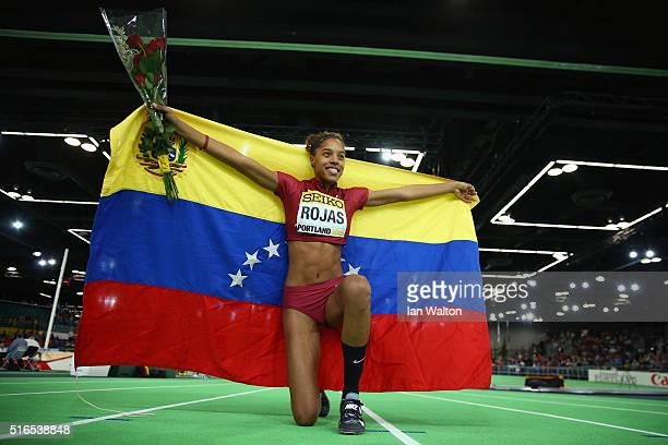 Yulimar Rojas of Venezuela celebrates winning gold in the Women's Triple Jump Final during day three of the IAAF World Indoor Championships at Oregon...