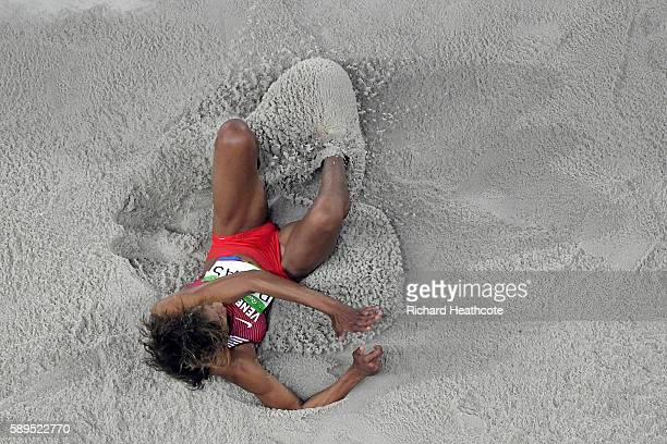 Yulimar Rojas of Venezuela competes during the Women's Triple Jump on Day 9 of the Rio 2016 Olympic Games at the Olympic Stadium on August 14 2016 in...