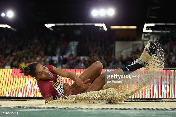 Yulimar Rojas of Venezuela competes in the Women's Triple Jump Final during day three of the IAAF World Indoor Championships at Oregon Convention...