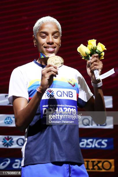 Yulimar Rojas of Venezuela, gold, poses during the medal ceremony for the Women's Triple Jump during day ten of 17th IAAF World Athletics...