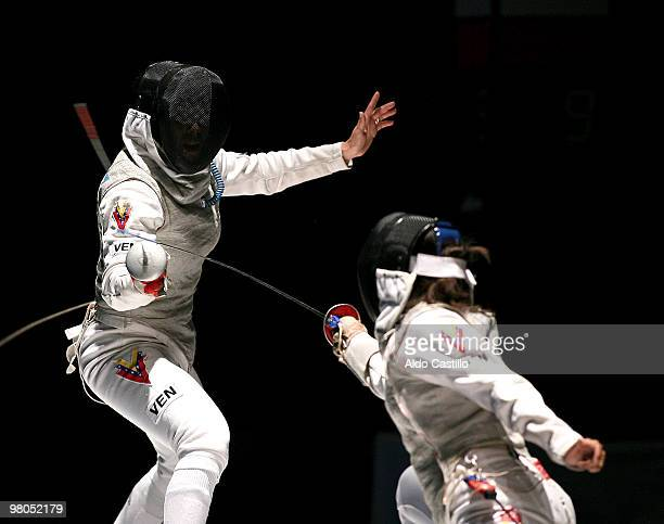 Yulitza Suarez of Venezuela in action against Mariana Gonzalez of Venezuela as part of the 2010 Odesur South America Games on March 25 2010 in...