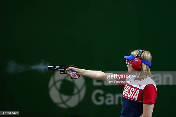Yuliya Alipova of Russia shoots during the Women's Pistol Shooting 25m final on day eight of the Baku 2015 European Games at the Baku Shooting Centre...