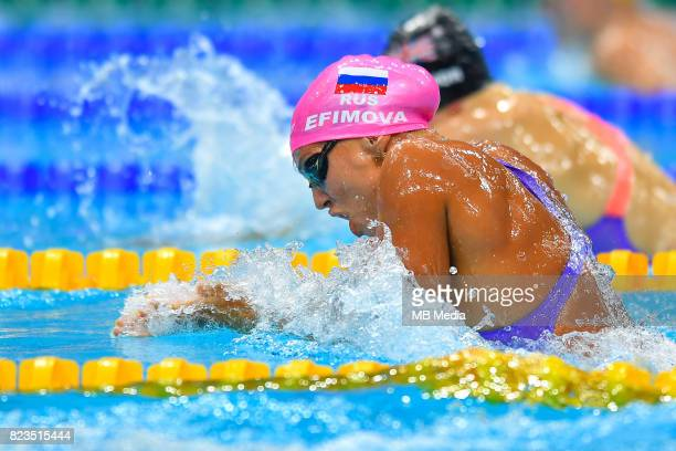Yuliya Efimova competes during the Women's 100m Breaststroke heat during the Budapest 2017 FINA World Championships on July 24 2017 in Budapest...