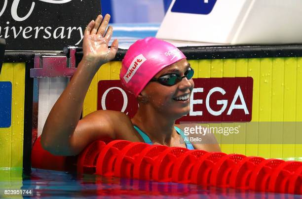 Yuliya Efimova of Russia celebrates after winning the gold medal during the Women's 200m Breaststroke final on day fifteen of the Budapest 2017 FINA...