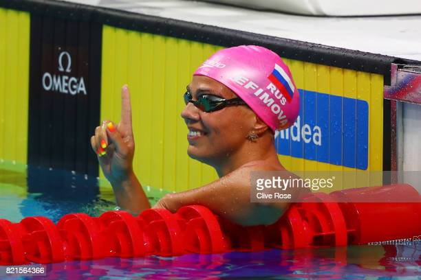 Yuliya Efimova of Russia celebrates finishing 1st in the Women's 100m Breaststroke Semifinals on day eleven of the Budapest 2017 FINA World...