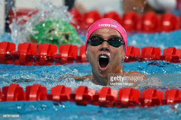 Yuliya Efimova of Russia celebrates winning the gold medal in the Women's 100m Breaststroke Final on day eleven of the 16th FINA World Championships...