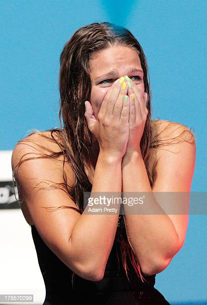 Yuliya Efimova of Russia celebtrates third place in the Women's Medley 4x100m Relay Final on day sixteen of the 15th FINA World Championships at...