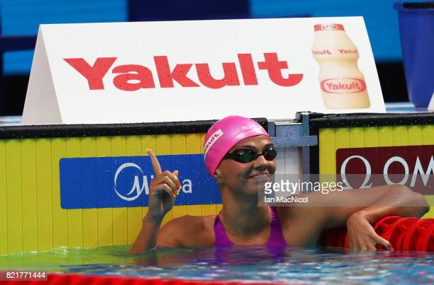 Yuliya Efimova of Russia competes in the Women's 100m Breastroke on day eleven of the FINA World Championships at the Duna Arena on July 24 2017 in...