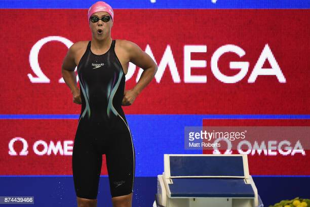 Yuliya Efimova of Russia competes in the Women's 100m Breaststroke Final during day two of the FINA Swimming World Cup at Tokyo Tatsumi International...