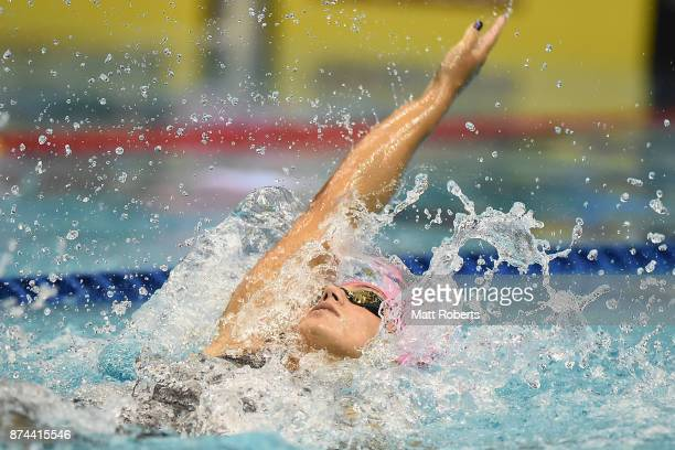 Yuliya Efimova of Russia competes in the Women's 100m Individual Medley Final during day two of the FINA Swimming World Cup at Tokyo Tatsumi...