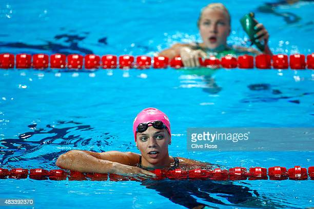 Yuliya Efimova of Russia looks on with Ruta Meilutyte of Lithuania after the Women's 50m Breaststroke SemiFinals on day fifteen of the 16th FINA...