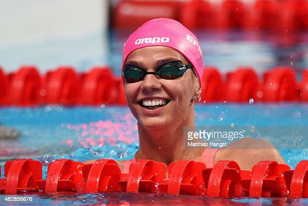 Yuliya Efimova of Russia reacts after competing in the Women's 100m Breaststroke Semifinal on day ten of the 16th FINA World Championships at the...
