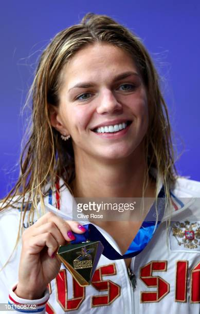 Yuliya Efimova of Russia reacts after winning gold in the Women's 100m Breastroke Final during the Swimming on Day Four of the European Championships...