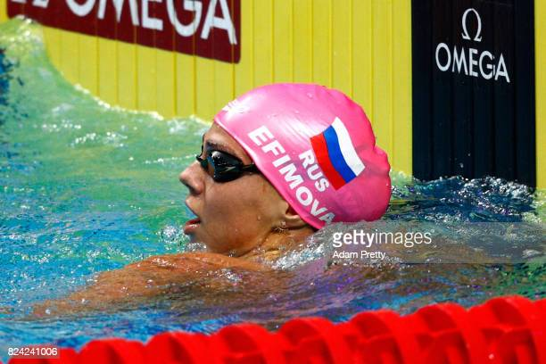 Yuliya Efimova of Russia reacts during the Women's 50m Breaststroke semi final on day sixteen of the Budapest 2017 FINA World Championships on July...