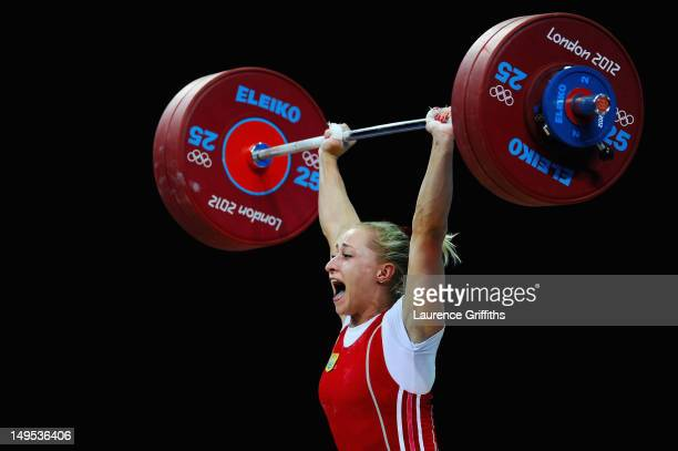 Yuliya Kalina of Ukraine competes in the Women's 58kg Weightlifting on Day 3 of the London 2012 Olympic Games at ExCeL on July 30 2012 in London...