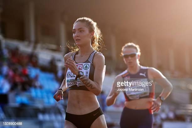 Yuliya Khalilova of ANA competes in the Women's 10000m Race Walk during European Athletics U20 Championships Day 1 at Kadriorg Stadium on July 15,...