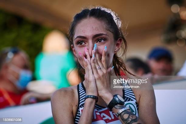 Yuliya Khalilova of ANA reacts after the Women's 10000m Race Walk during European Athletics U20 Championships Day 1 at Kadriorg Stadium on July 15,...