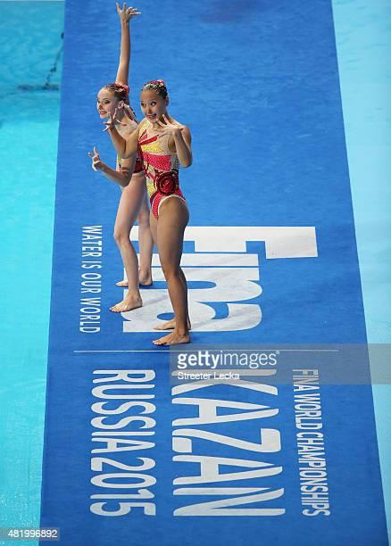 Yuliya Kim and Anastasiya Ruzmetova of Uzbekistan compete in the Women's Duet Technical Preliminary Synchronised Swimming on day two of the 16th FINA...