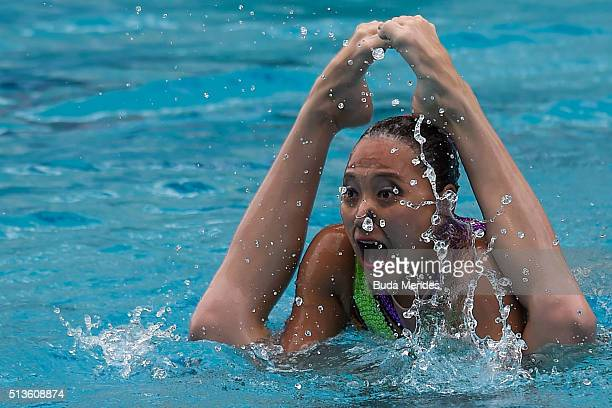 Yuliya Kim and Anastasiya Ruzmetova of Uzbekistan compete in the Duets Free Routine First Round during the FINA Olympic Games Synchronised Swimming...