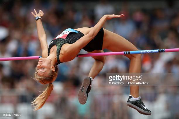 Yuliya Levchenko of Ukraine competes in the Women's High Jump during Day Two of the Muller Anniversary Games at London Stadium on July 22, 2018 in...