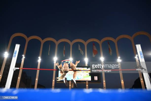 Yuliya Levchenko of Ukraine competes in the Women's High Jump during the Herculis EBS Monaco 2020 Diamond League meeting at Stade Louis II on August...
