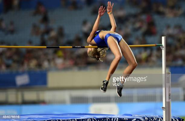 Yuliya Levchenko of Ukraine competes in the Women's High Jump Final on day eight of the Nanjing 2014 Summer Youth Olympic Games at Nanjing OSC...