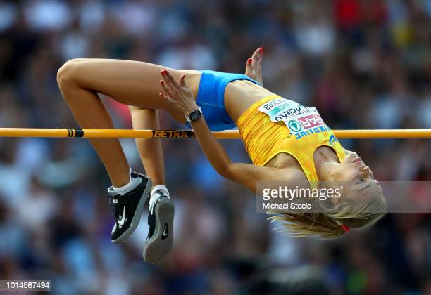 Yuliya Levchenko of Ukraine competes in the Women's High Jump Final during day four of the 24th European Athletics Championships at Olympiastadion on...