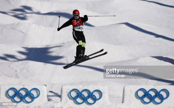 Yuliya Rodionova of Kazakhstan competes in the Womens Freestyle Moguls Qualifying on Day 1 of the 2006 Turin Winter Olympic Games on February 11 2006...