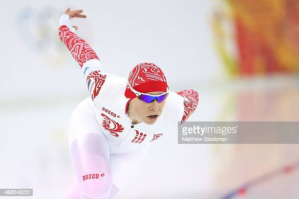 Yuliya Skokova of Russia competes during the Women's 3000m Speed Skating event during day 2 of the Sochi 2014 Winter Olympics at Adler Arena Skating...
