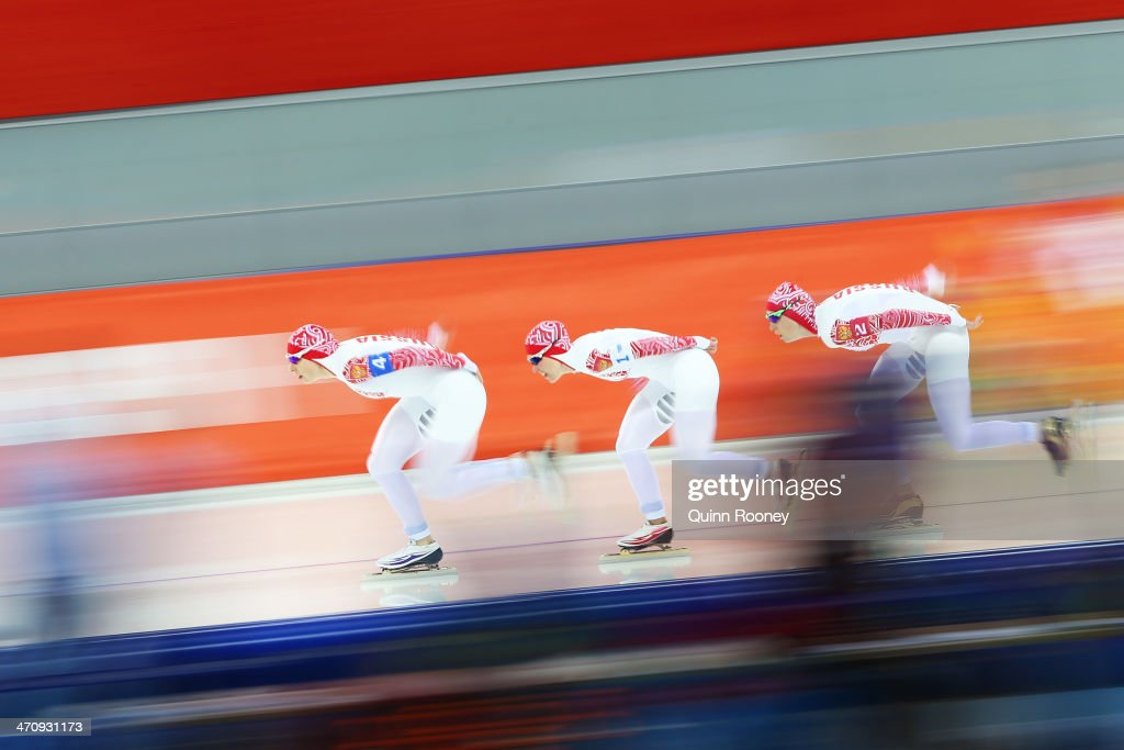 Yuliya Skokova, Olga Graf and Yekaterina Lobysheva of Russia compete during the Women's Team Pursuit Quarterfinals Speed Skating event on day fourteen of the Sochi 2014 Winter Olympics at Adler Arena Skating Center on February 21, 2014 in Sochi, Russia.