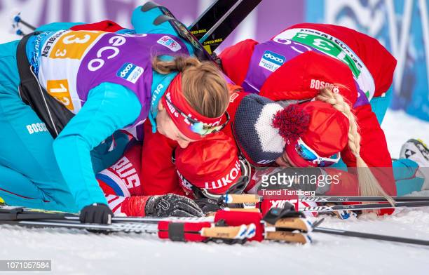 Yulla Belorukova Natalia Nepryaeva Anastasia Sedova Anna Nechaevskaya of Russia celebrates after WC Cross Country Ladies 4 x 5 km Relay at...