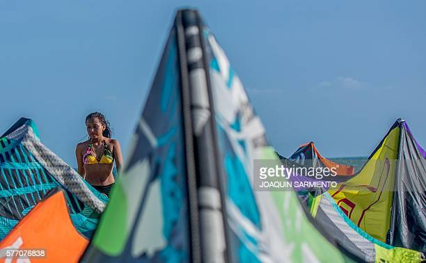 Yuly from Colombia's Wayuu indigenous ethnia is pictured before the Third Kite Addict Colombia tournament in Cabo de la Vela Guajira Department...
