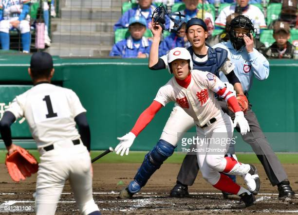 Yuma Fukumoto of Chiben Gakuen hits a RBI double in the 1st inning during the 88th Ntional High School Baseball Invitational Tournament first round...