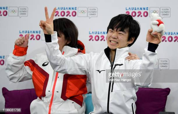 Yuma Kagiyama of Japan celebrates in Men Single Skating Free Skating during day 3 of the Lausanne 2020 Winter Youth Olympics on January 12 2020 in...