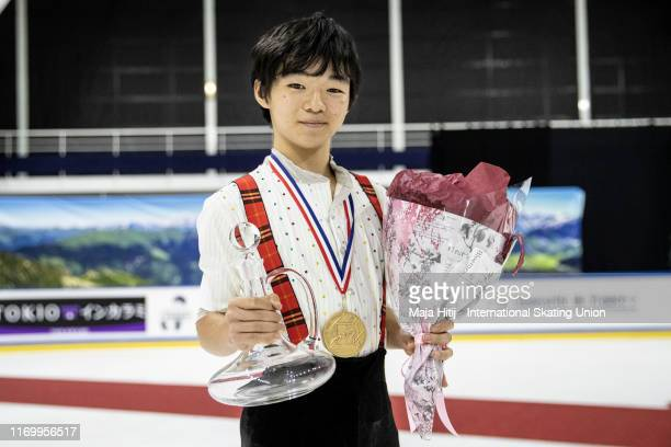 Yuma Kagiyama of Japan poses with gold medal after a medal ceremony after Junior Men Free Skating at the ISU Junior Grand Prix of Figure Skating...